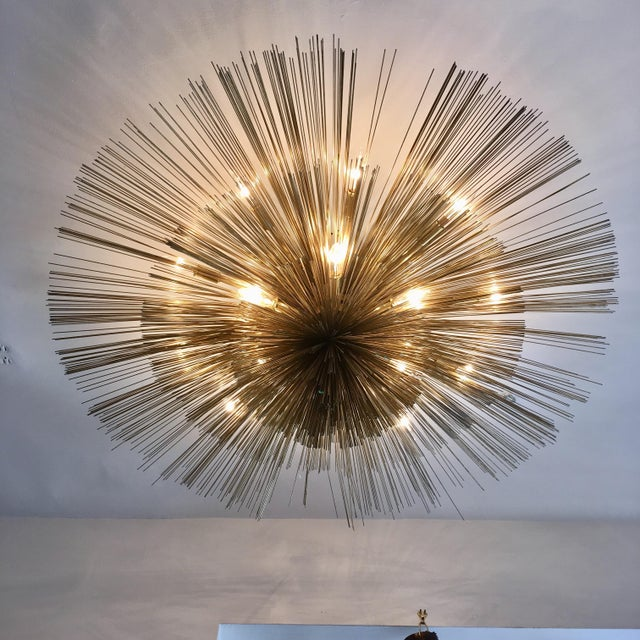 Mid-Century Modern Curtis Jere Brass Nest Flush Light Chandelier For Sale - Image 3 of 8