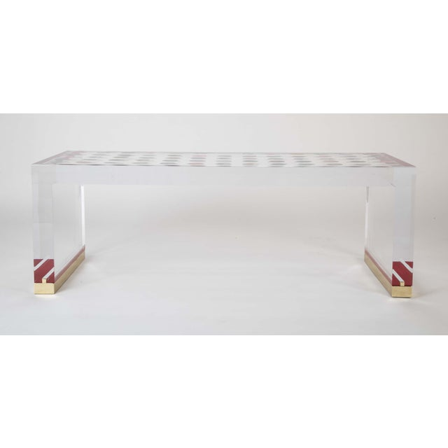Early 21st Century Unique Contemporary Lucite Coffee Table With Agate Inlaid Discs For Sale - Image 5 of 13