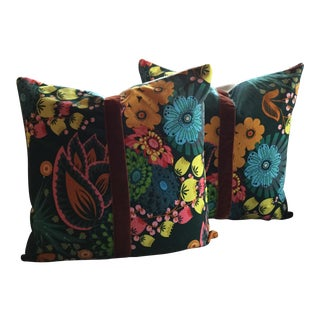 Vintage Velveteen Pillows With Velvet Ribbon Accent- A Pair