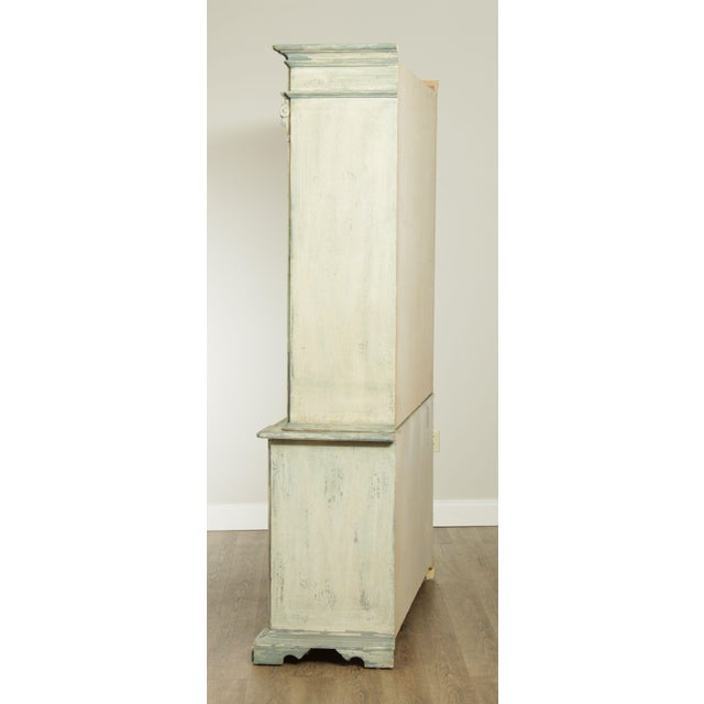 Faux Bamboo Italian Custom Faux Blue Painted Architectural Bookcase For Sale - Image 7 of 13