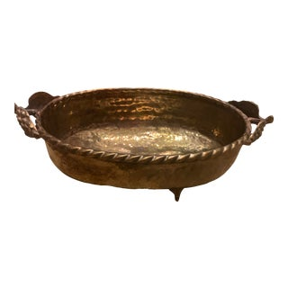 Vintage Grape Embossed Brass Planter Jardiniere Oval Footed For Sale