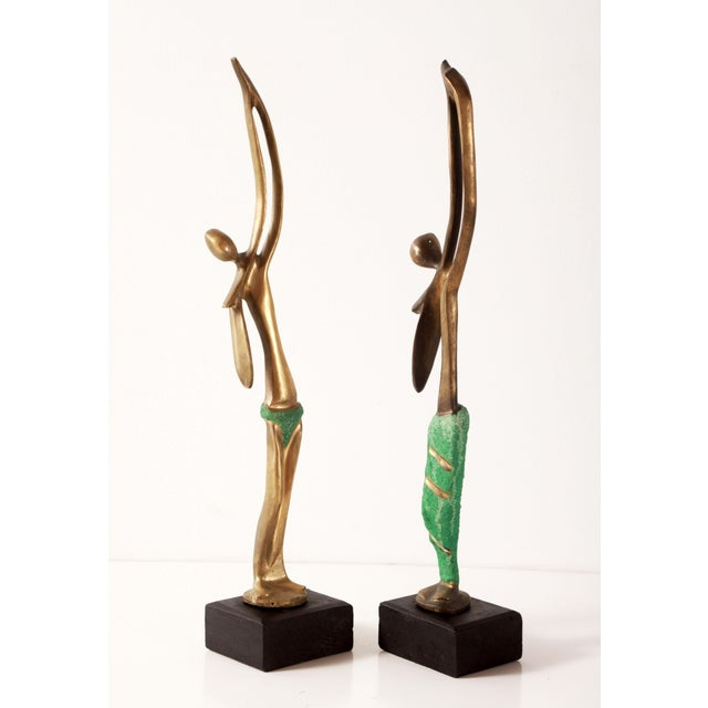 Mid 20th Century Modernist African Bronze Figural Sculptures From Angola - a Pair For Sale - Image 5 of 11