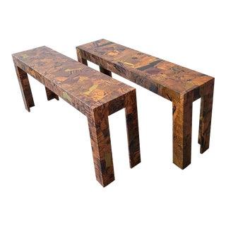 1970s Brutalist Copper Patchwork Console Tables - a Pair For Sale