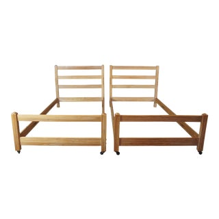 Vintage A Brandt Ranch Oak Twin Bunk or Trundle Beds - a Pair For Sale