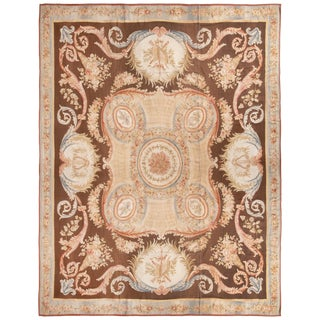 New Aubusson Pink and Brown Wool Rug with All-Over Floral Patterns For Sale