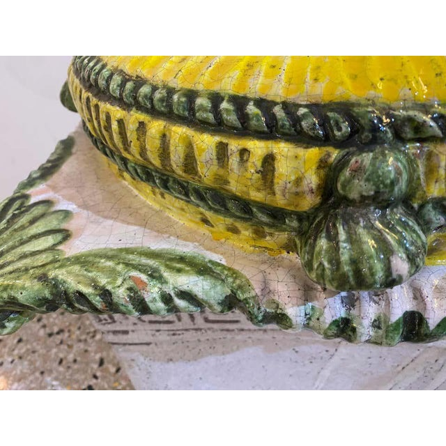 Garden Stool Italian Crackle Glazed Hand Painted Terracotta 1920s-30s For Sale - Image 12 of 13