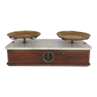 Antique French Portee Brass & Marble Scale