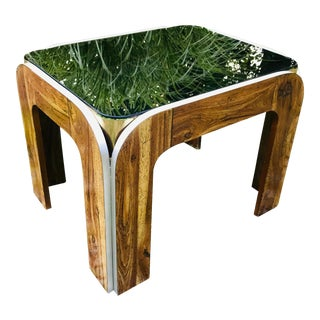 Vintage Side or Coffee Table W/Smoked Glass Deco Style For Sale
