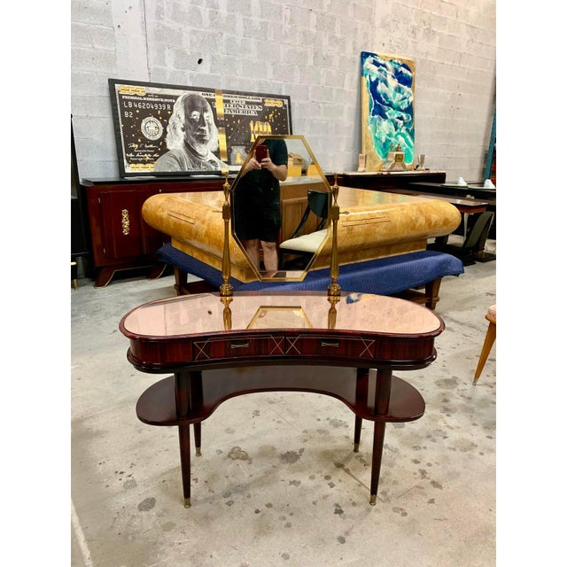 beautiful French Art Deco Exotic Macassar Vanity mirror top with bronze center mirror and 2 drawers the Macassar wood has...