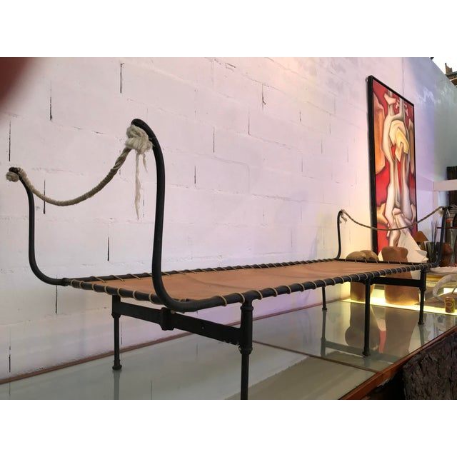 Animal Skin 19th Century Antique French Campaign Daybed For Sale - Image 7 of 11