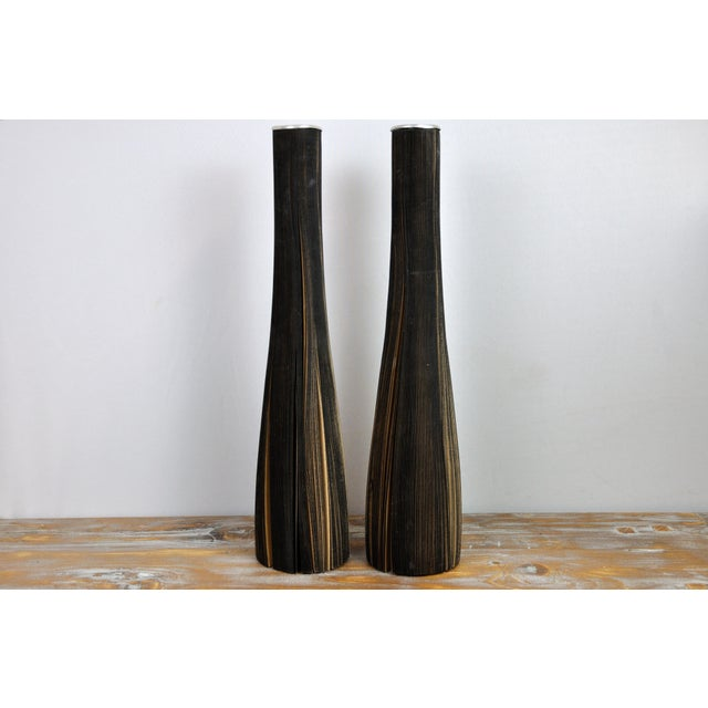 Pair of Reclaimed Craft Paper Designer Minialist Vases Like New For Sale - Image 13 of 13