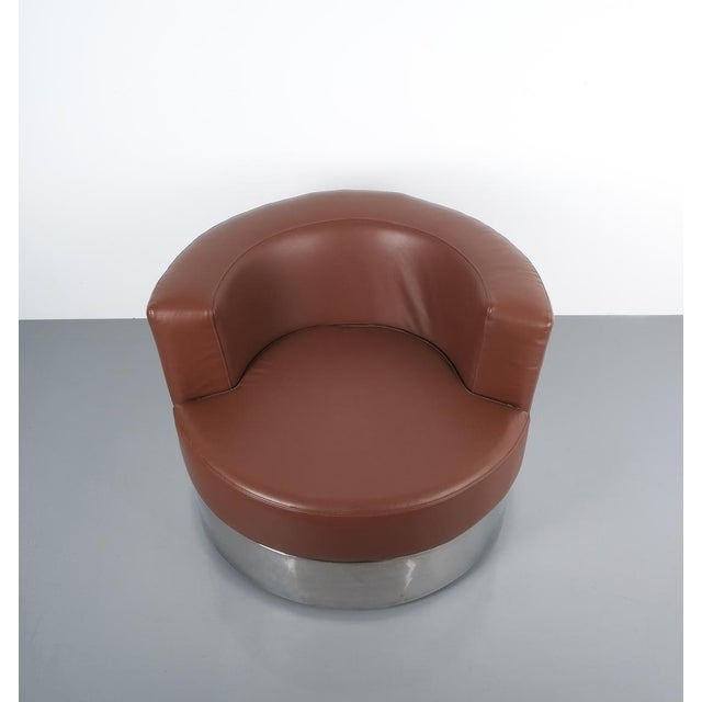 Brown Franco Fraschini Brown Leather Chair for Driade, Italy, 1965 For Sale - Image 8 of 11