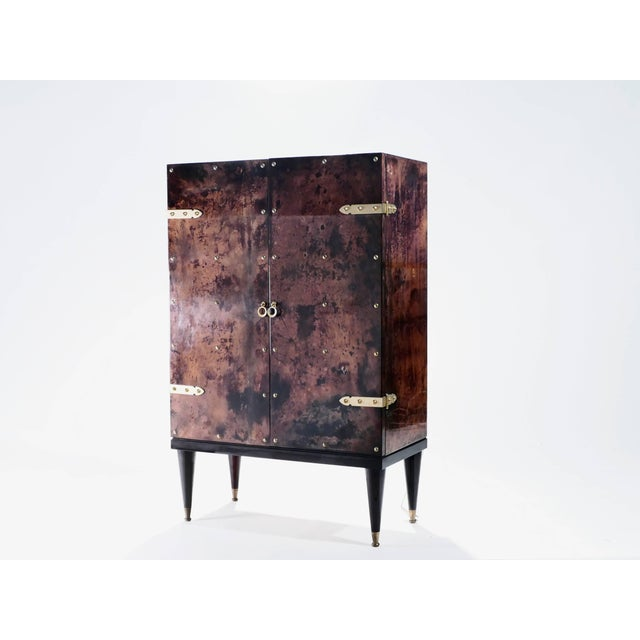 Metal Bar Cabinet in Goatskin Parchment by Aldo Tura, 1960s For Sale - Image 7 of 12