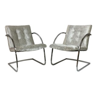 Mid-Century Modern Silver Velvet Chrome Side Chairs - a Pair For Sale