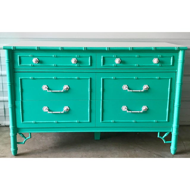 Vintage Custom Colored Turquoise Bamboo Dressers - a Pair For Sale In Chicago - Image 6 of 6