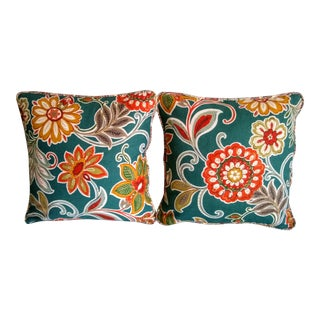 Bold Floral 16 X 16 Indoor/Outdoor Pillows With Paisley Piping - a Pair For Sale