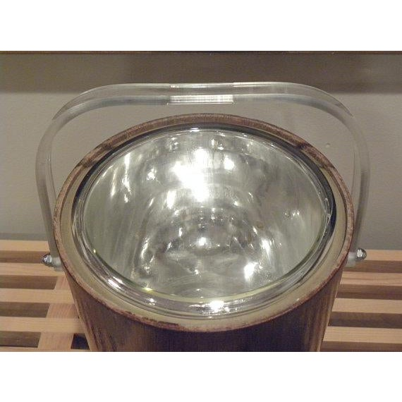1960s Thermos Mid-Century Vintage Teak Ice Bucket With Glass Liner For Sale - Image 5 of 8