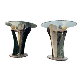 Postmodern Marble Sculptured Side Tables - a Pair For Sale