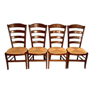 Vintage Italian Hardwood Rush Seat Dining Chairs - Set of 4 For Sale