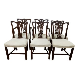 Early 19th Century American Chippendale Carved Mahogany Dining Chairs - Set of 6 For Sale