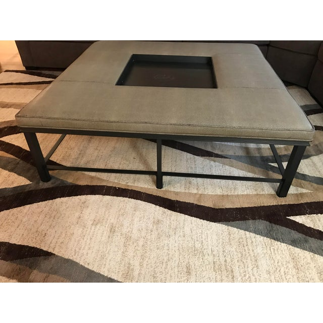 2000 - 2009 Transitional Baker Fabric and Steel Square Coffee Table For Sale - Image 5 of 8
