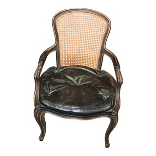 Early 20th Century Antique Leather Louis XV Armchair For Sale