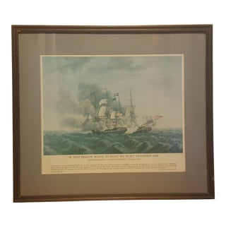 Mid 19th Century Antique Thomas Birch USS Constitution vs. Hms Guerriere Framed Print For Sale