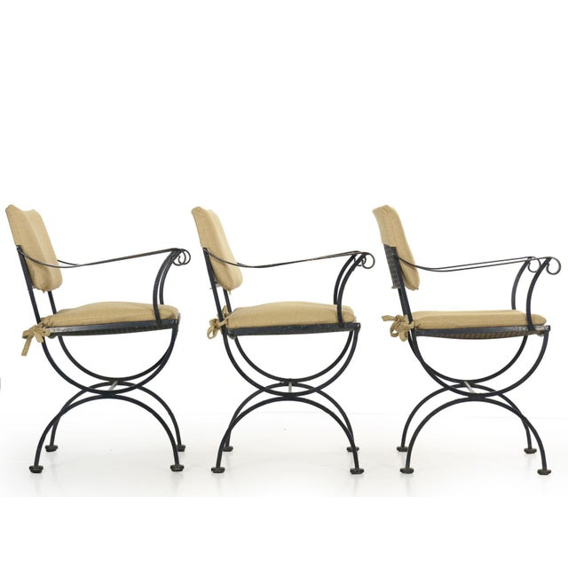 Set of Six Salterini Style Black Iron Patio Dining Chairs, Mid 20th Century For Sale - Image 11 of 13
