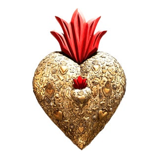 Red Flamed Wooden Sacred Heart Covered in Milagro Charms and Metal For Sale