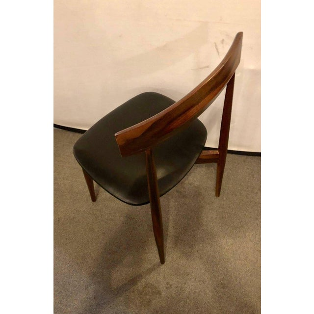 Set of Four Mid-Century Modern Slat Back Black Leather Side Chairs For Sale In New York - Image 6 of 9