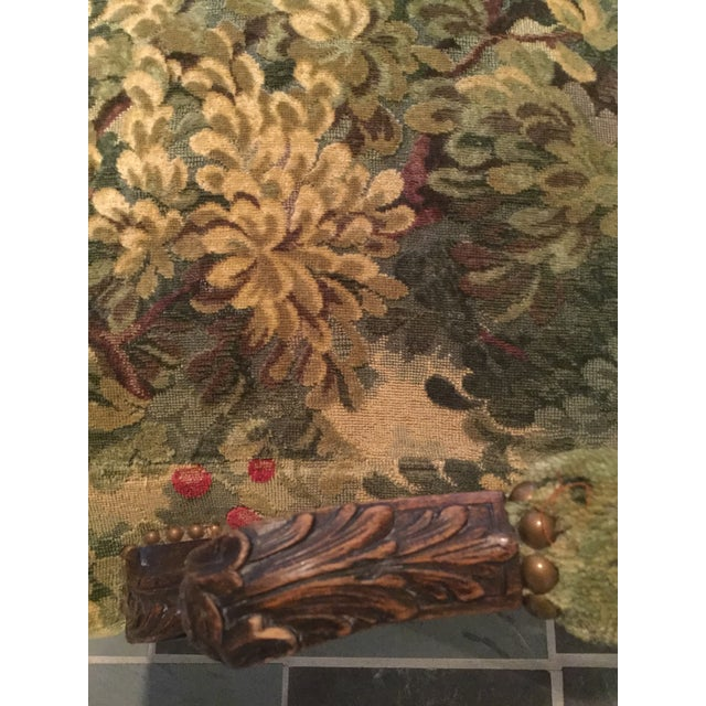 French 19thC Settee Covered in Scalamandre Marly Forest Green Fabric For Sale - Image 9 of 12