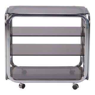 Mid Century Polished Chrome and Smoked Glass Trolley For Sale