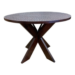 Custom Round Hammered Top + X Base Wood Table For Sale