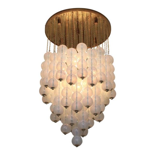 Very Huge Opaline Murano Glass Balls and Brass Chandelier by Zero Quattro Milan For Sale