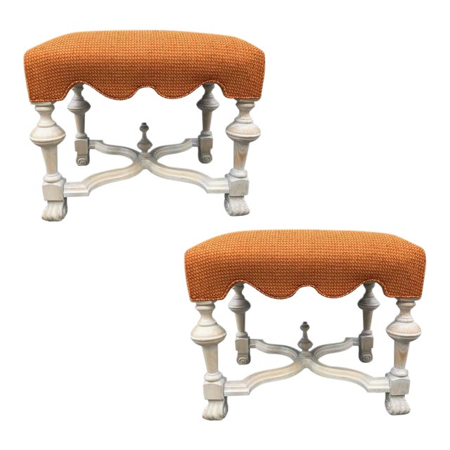 Pair of Hollywood Regency Cerused Benches For Sale