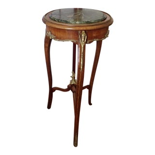 French Round Mahogany and Green Marble Side Table For Sale