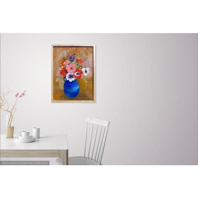 Bright and vibrant oil painting on canvas. The painting is of a beautiful bouquet of flowers in a lovely blue pottery...