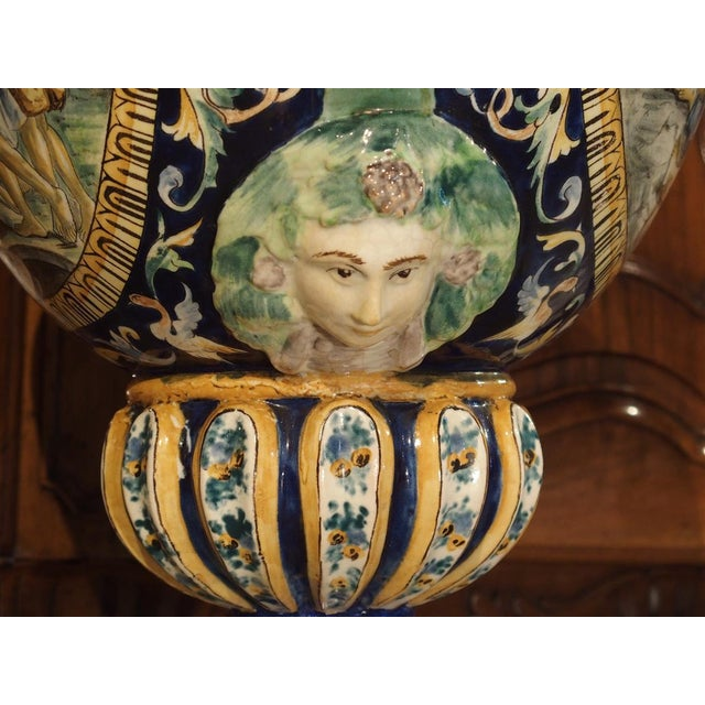 Late 19th Century A Large Painted Italian Majolica Urn Circa 1885 For Sale - Image 5 of 12