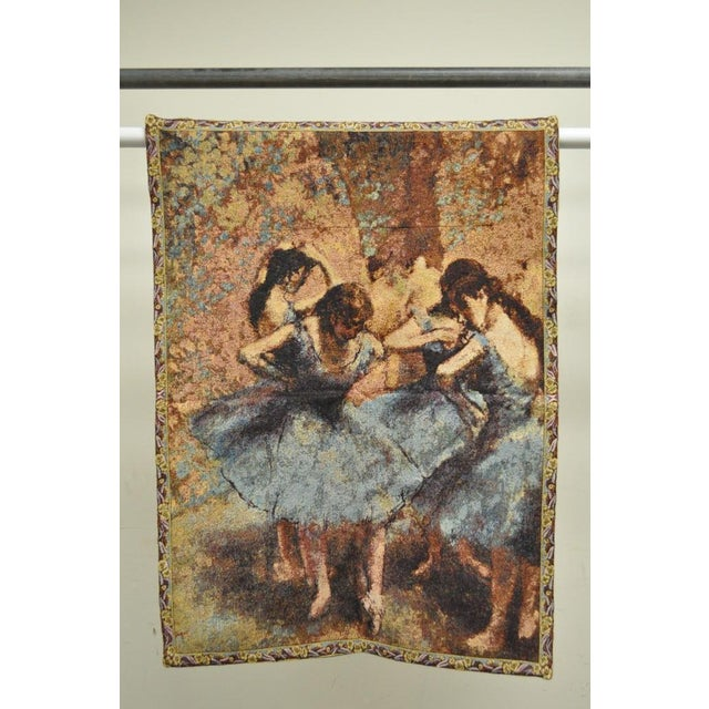 "Early 21st Century 35""x 25"" French Wall Hanging Tapestry Jacquard Ballet Dancers in Blue Edgar Degas For Sale - Image 5 of 6"
