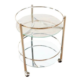 Crate & Barrel Glass and Chrome Bar Cart For Sale