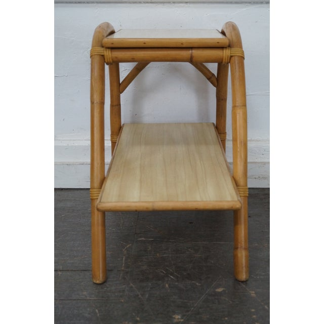 Vintage Vogue Rattan 2 Tier Side Tables - a Pair For Sale - Image 5 of 10