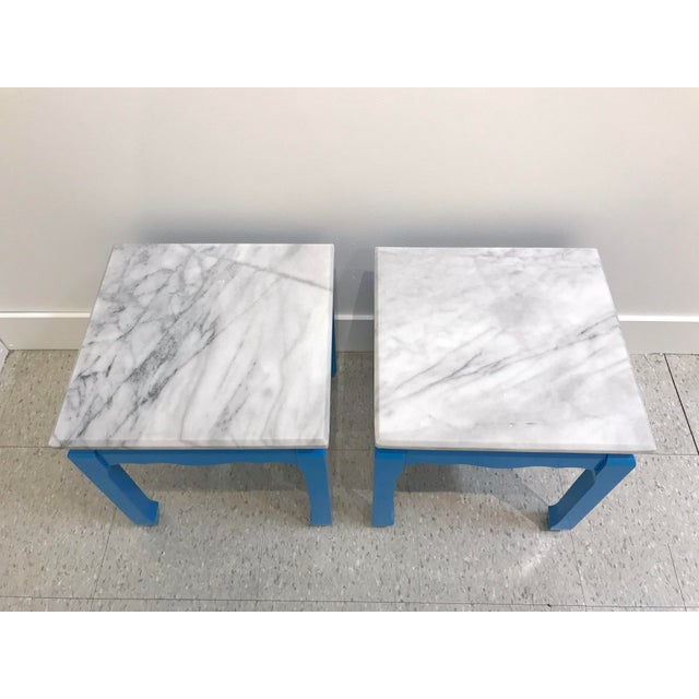 Contemporary 20th Century Ming Blue Chow Leg Marble Side Tables - a Pair For Sale - Image 3 of 8