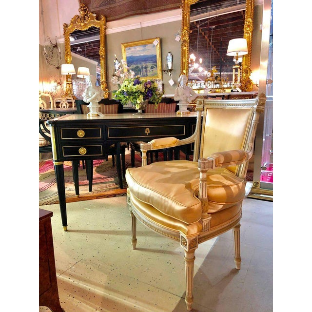 Jansen Parcel Paint and Gilt Decorated Arm or Desk Chair For Sale - Image 12 of 13
