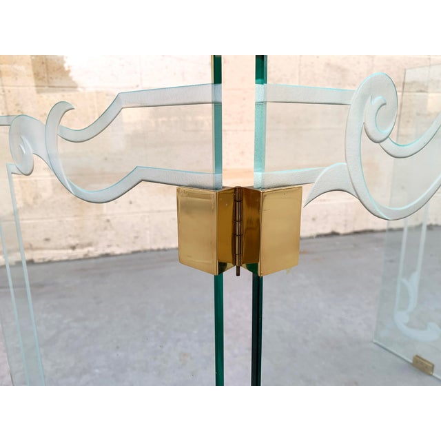 Metal Glass Fireplace Screen With Brass Hinges by Danny Alessandro, Custom Etching For Sale - Image 7 of 8