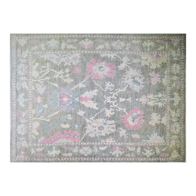 """Turkish Hand Woven Angora Oushak Rug With Allover Design and Silky Soft Texture,9'10""""x13'6"""" For Sale"""