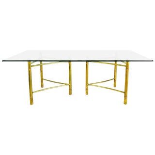 1970s Mastercraft Brass Dining Table With Triangular Bases For Sale