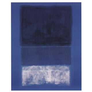 1998 Mark Rothko 'No 14 White and Greens in Blue' Abstract Blue,Black,White Germany Offset Lithograph For Sale