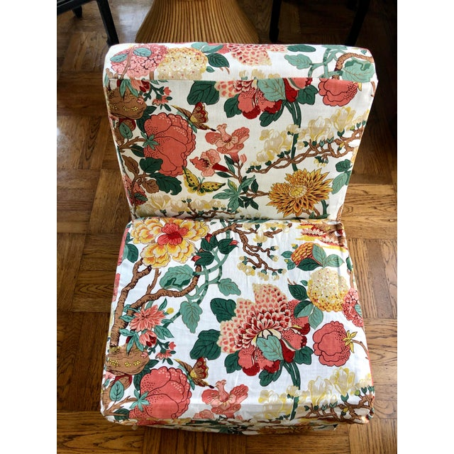 Pair of vintage slip covered slipper chairs.