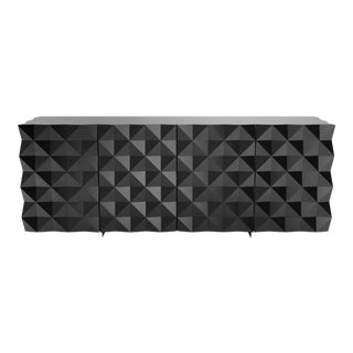 Joel Escalona Rocky Collection Geometric Black Credenza and Sideboard For Sale