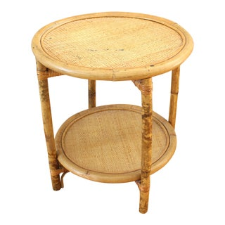 Vintage Asian Antique Bamboo Woven Round Side Table For Sale